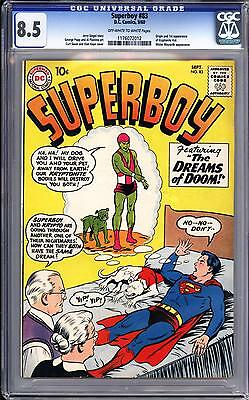 Superboy #83 Cgc 8.5  Ow White Pages   Sept 1960!   1St Kryptonite Kid!