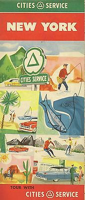 1957 CITIES SERVICE Gas Station Locator Road Map NEW YORK Long Island Syracuse