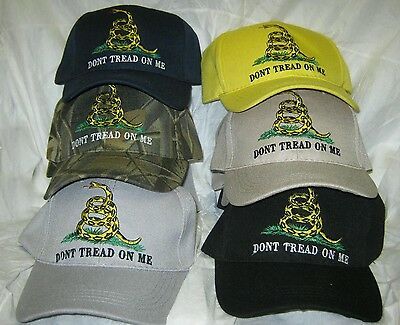 lot of 12 NEW - embroidered DONT TREAD ON ME Gadsden Flag Cap / Hat asst colors