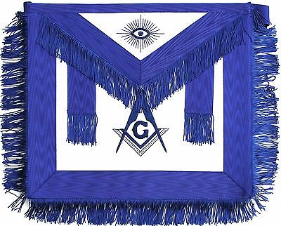 MASONIC MASTER MASON Leather APRON BLUE WITH FRINGE HAND EMBROIDERED