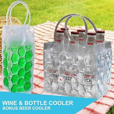 Set of 4 Wine & Bottle Cooler Ice Chiller Freeze Carrier Bag BONUS Beer Cooler