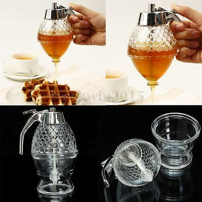 200ML Acrylic Clear Glass Handle Drip Syrup Honey Dispenser Container Holder Pot
