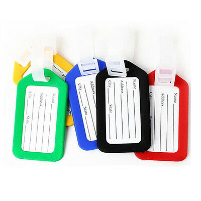 1pcs Plastic Luggage Tags Labels Strap Name ID Suitcase Bag Baggage Travel
