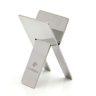 Cohiba Stainless Steel Foldable Cigar Stand Ashtray Showing Portable Holder