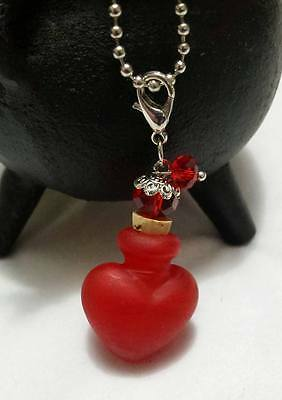 Red Murano Glass ✨LOVE Heart BOTTLE ✨Potion Perfume Pendant