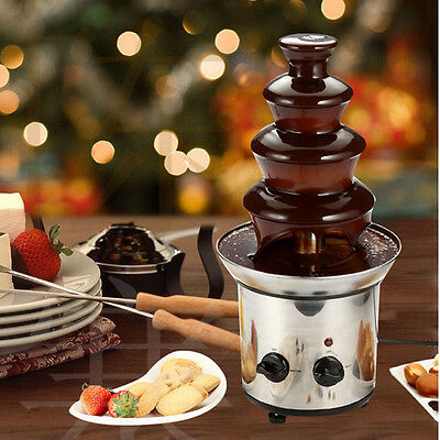 Mini Home Party 4 Tiers Stainless Steel Chocolate Fountain Fondue Machine NEW