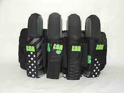 Laysick 444X 2016 Lime Stripes 4+3 Professional Paintball Harness or Pack
