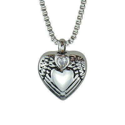 Angel Wings Crystal Heart Urn Pendant Necklace Memorial Ash Cremation-Engraving