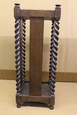 "Stickley Bros. ""Quaint"" Furniture Dark Oak Umbrella Stand With Barley Twist"