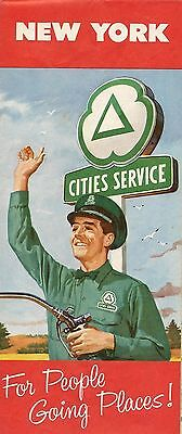 1959 CITIES SERVICE Gas Station Locator Road Map NEW YORK Buffalo Rochester