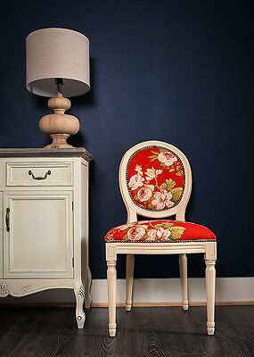 French Louis Side Chair White Red Floral Antique Dressing Style Bedroom Dining