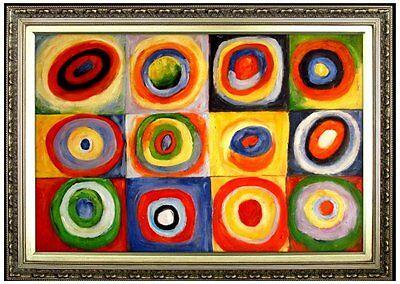 Framed Oil Painting Kandinsky Squares With Concentric
