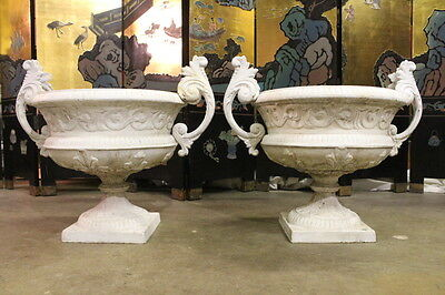 Pair of 1890's Victorian Cast Iron Garden Urns, by Kramer Bros. Ohio #1