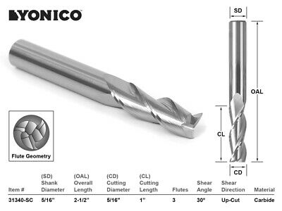 "5/16"" Dia. Upcut Spiral End Mill CNC Router Bit - 5/16"" Shank - Yonico 31340-SC"