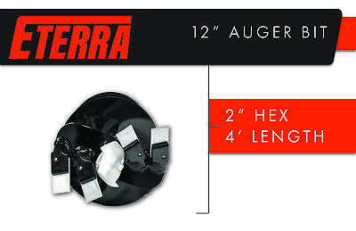 "Eterra Auger Bit - 12"" Bit for Skid Steer Auger Attachments &  Auger Systems"