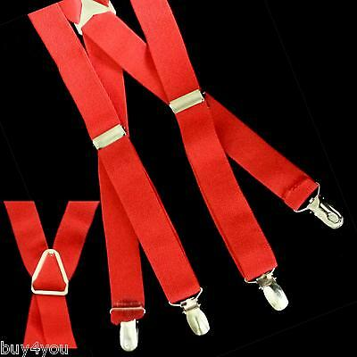 Suspenders Belt Red Strap Fashion 4 Clips Elastic for Jeans Trousers