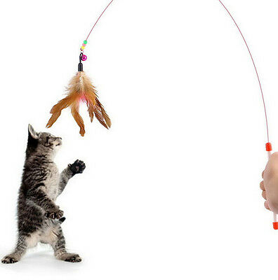 Kitten Cat Pet Toy Wire Chaser Wand Teaser Feather With Bell Beads Random Color