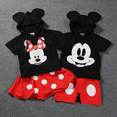 Baby Boy Girls Kids Mickey Minnie Mouse Clothes Tops+Dress tutu Pants Outfit Set