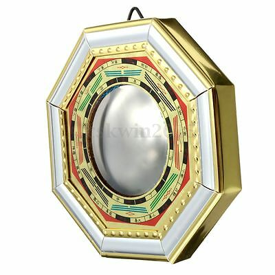11cm Chinese Feng Shui Bagua Convex Mirror I-Ching Bless For Fortune Prosperity