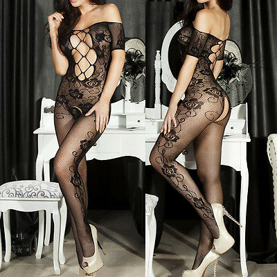 Catsuit Sexy Pizzo Hot Donna Full Body Lingerie Calze Rete Bodystocking Fishnet