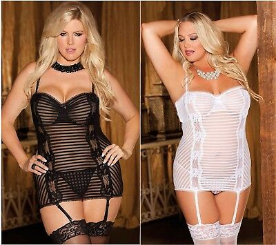 Sexy Babydoll Nero E Bianco Lingerie Taglie Comode Forti Tulle A Righe Intimo
