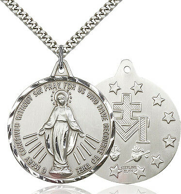Mens Sterling Silver Our Lady Grace Miraculous Virgin Mary Round Medal Necklace