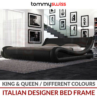 TOMMY SWISS: LUXURY Italian Designer PU Leather Bed Frame in King Queen Sizes