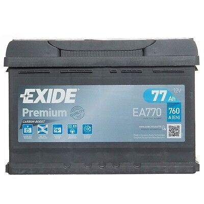 Type 096 Car Battery 760CCA Exide Premium 77Ah 4 Years Warranty OEM Replacement
