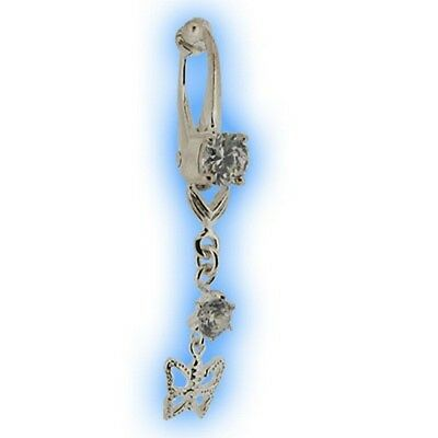 Fake Belly Button Ring Non Piercing Navel Clip on Clear Dangly Butterfly Clipon