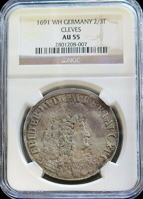 1691 Wh Cleves German State 2/3 Thaler Friedrich Iii Ngc About Uncirculated 55