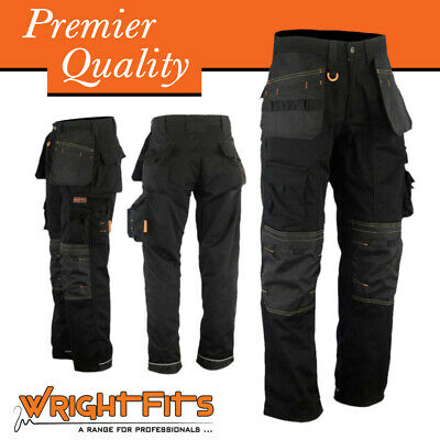 Men Work Cargo Trouser Black Holster Heavy Duty Multi Pockets, Knee Pad Pockets