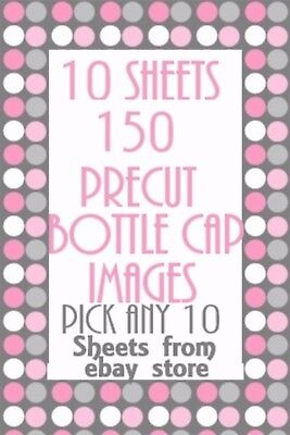 150 Bottle Cap Images 10 Sheets YOU Pick From OVER1000 IN EBAY Store Listings