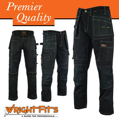 Men Work Cargo Trouser Black Pro Heavy Duty Multi Pockets & Knee Pad
