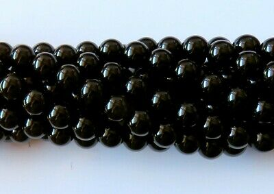 50pcs 8mm Round Natural Gemstone Beads - Black Agate