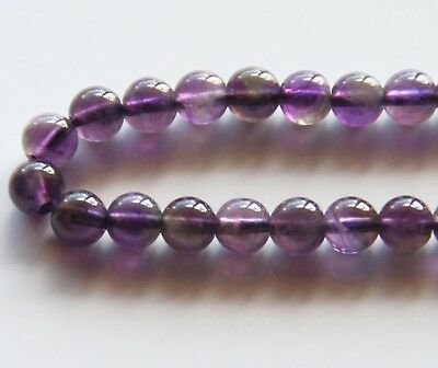 50pcs 6mm Round Natural Gemstone Beads - Amethyst