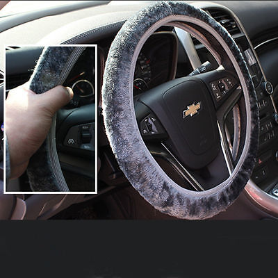 Fleece Car Steering Wheel Cover Protective Winter Warm Plush Elastic Band Wraps