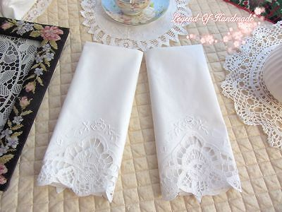 TWO Vintage Handmade Battenburg Lace Guest Towel Chair Back Doily~White~Wedding~