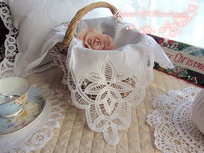 Handmade Battenburg Lace Basket Cloth Liner/Bread Cover~White~Daisy~Wedding~