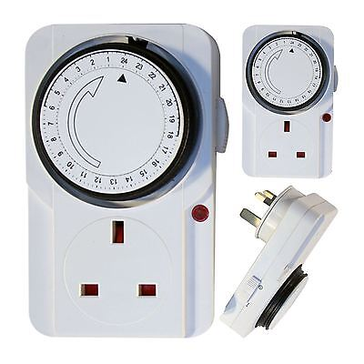 3 x 24 Hour Mains Plug In Timer Switch Time Clock Socket UK 3 Pin Lights 24hr