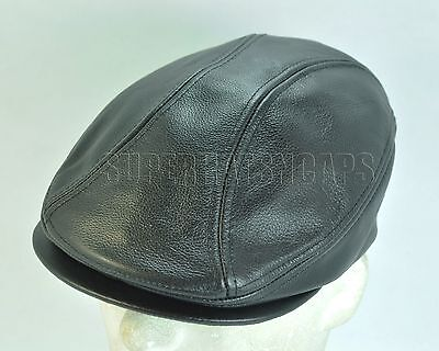 732defe9090 Genuine Leather Newsboy Driving Golf Flat Ivy Ascot Snap Brim Hat Cap Black