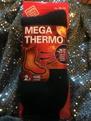 UNISEX Heated Socks Thermal MEGA THERMO 2.3 TOG SOLID BLACK SIZE 10-15 FREE SHIP