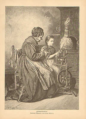Grandmother Teaches Girl To Use The Spinning Wheel, 1889 German Antique Print
