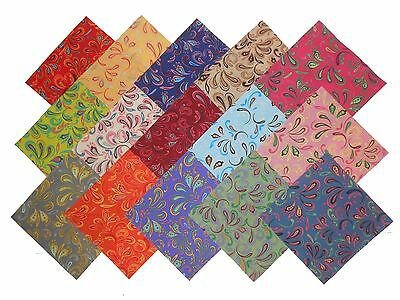 "30 5"" Quilting Fabric Squares Bright Flip Flops Charm Pack"