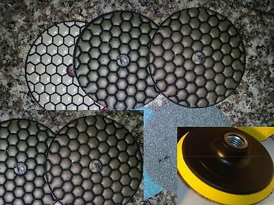 Diamond Polishing Pads 4 inch Dry 11 Piece Set Backer Pad Granite Concrete Stone