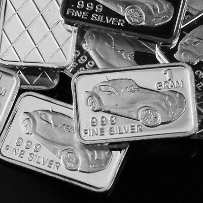 Lot 30 X 1 Gram  .999  Fine Pure Silver Bar Bullion  /  Vintage car  WPT209 oz