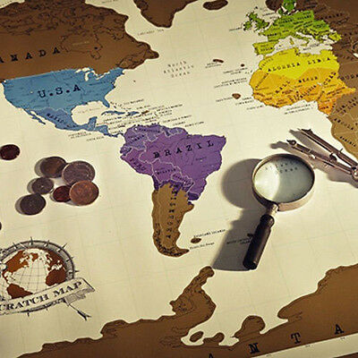 1x Large Size Personalized Travel Vacation Scratch Off World Map Poster Log Gift