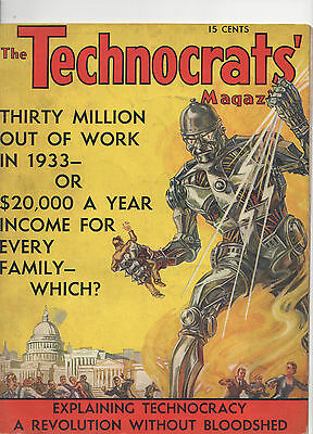 Vintage 'The Technocrat's Magazine' 1933 By Howard Scott! Angry Robot Cover!
