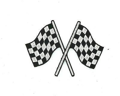 Patch ecusson brode thermocollant drapeau damier checkered course auto moto