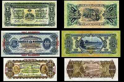 !Copy! 3 Australia 1913-33 Banknotes: 1£ 10 Shillings 1/2 Sovereign Not Real!