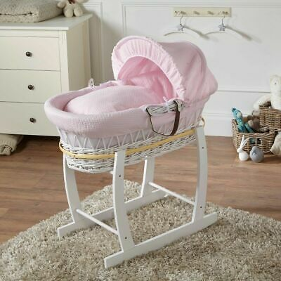 Brand New-Pink Waffle White Wicker Moses Basket With White Rocking Stand